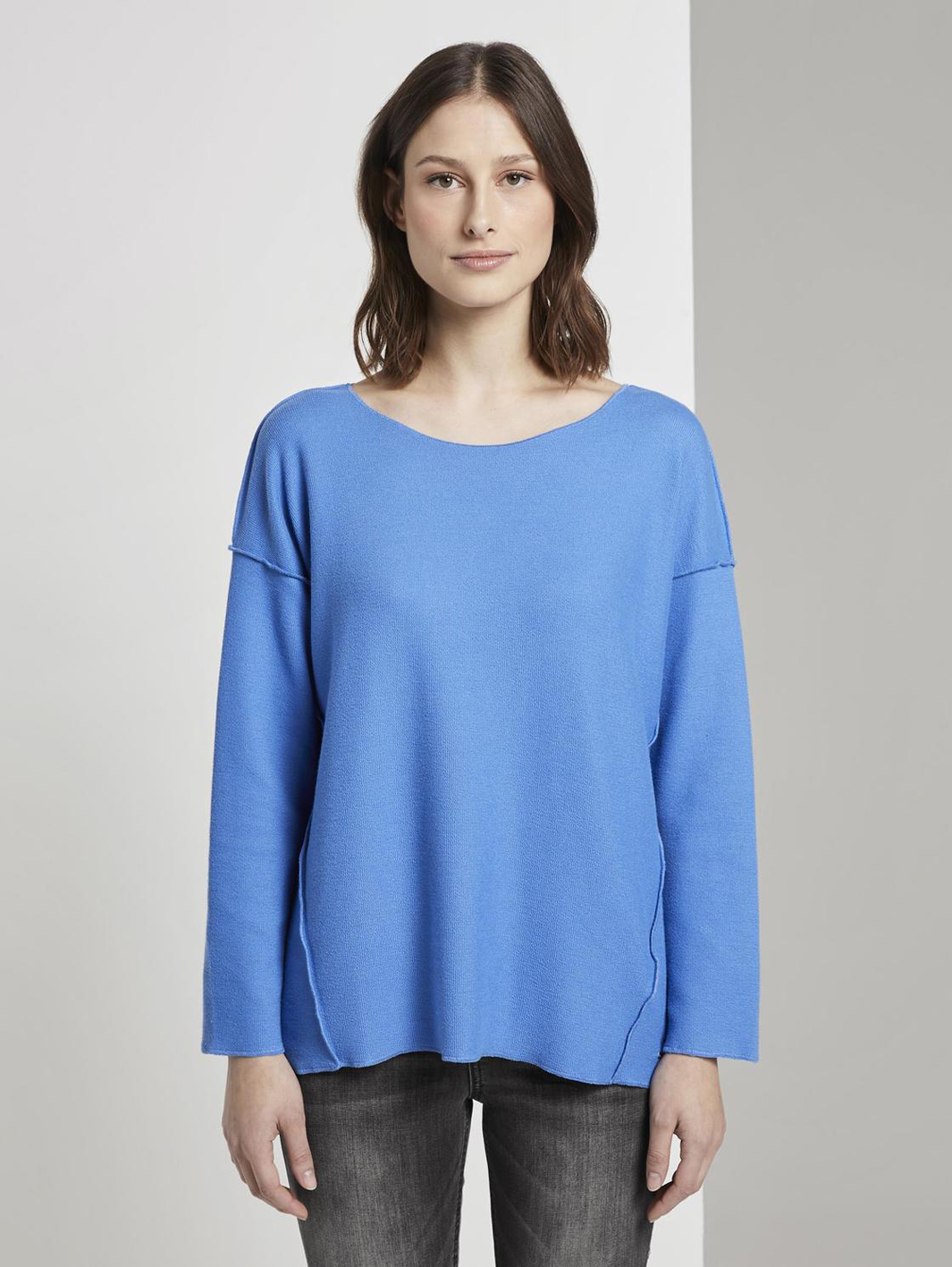 Tom Tailor geripptes Oversized Shirt blue